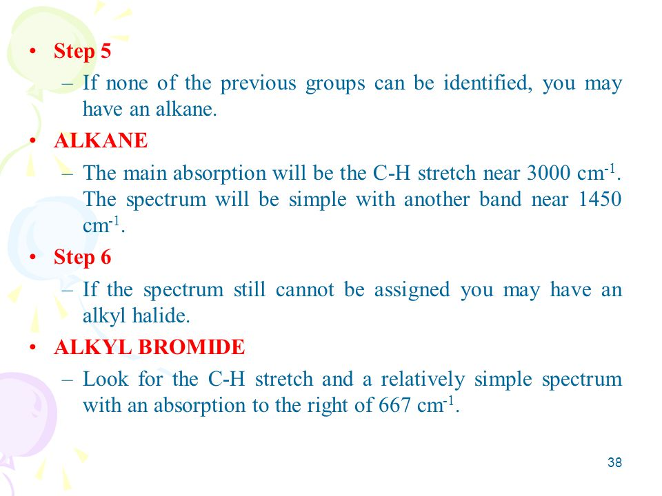 Step 5 If none of the previous groups can be identified, you may have an alkane. ALKANE.