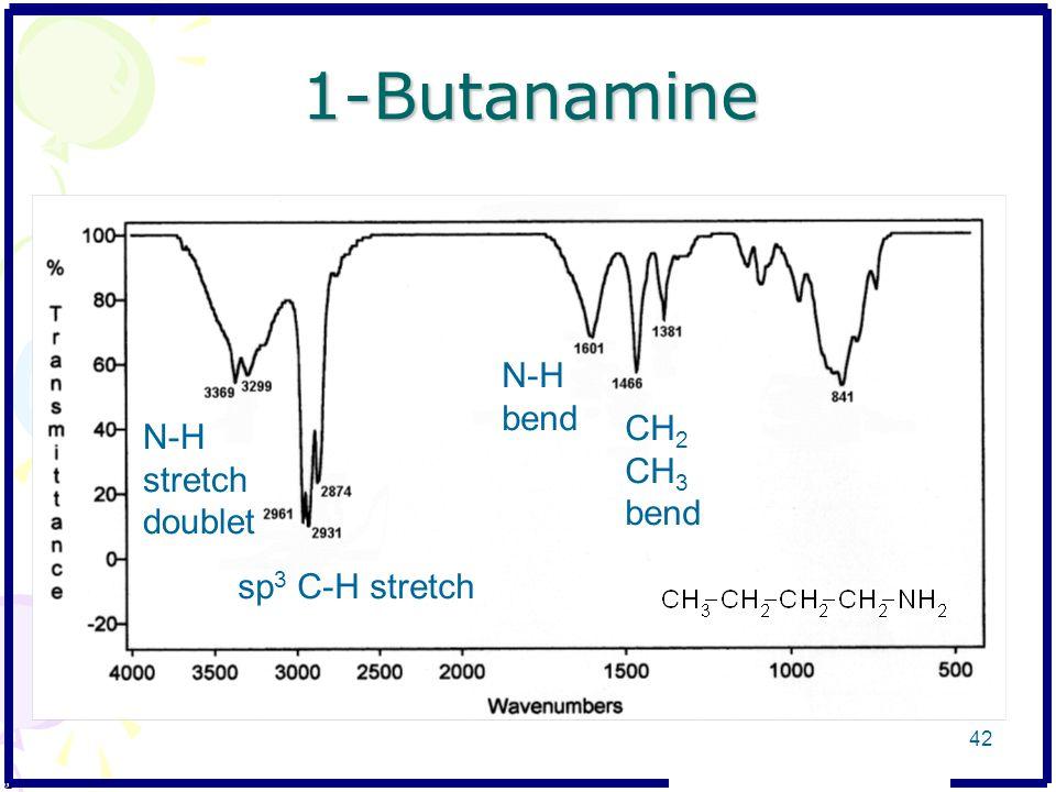 1-Butanamine N-H bend CH2 CH3 bend N-H stretch doublet sp3 C-H stretch