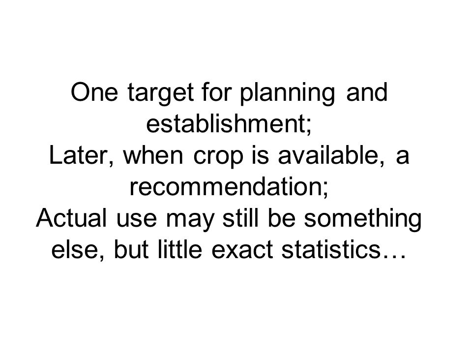 One target for planning and establishment; Later, when crop is available, a recommendation; Actual use may still be something else, but little exact statistics…