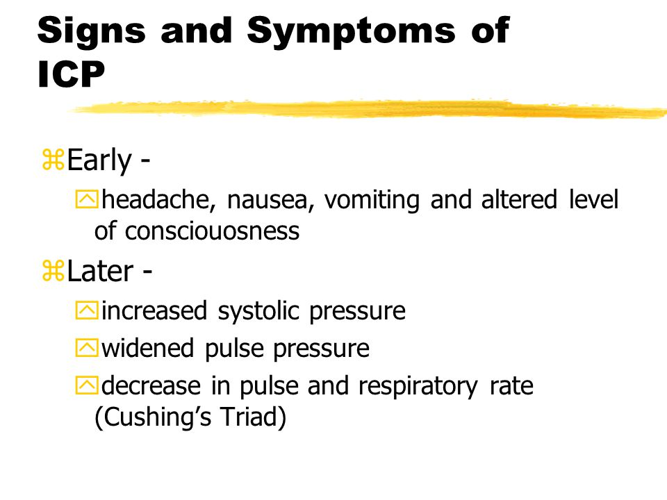 Signs and Symptoms of ICP