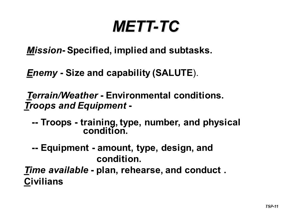 METT-TC Mission- Specified, implied and subtasks.