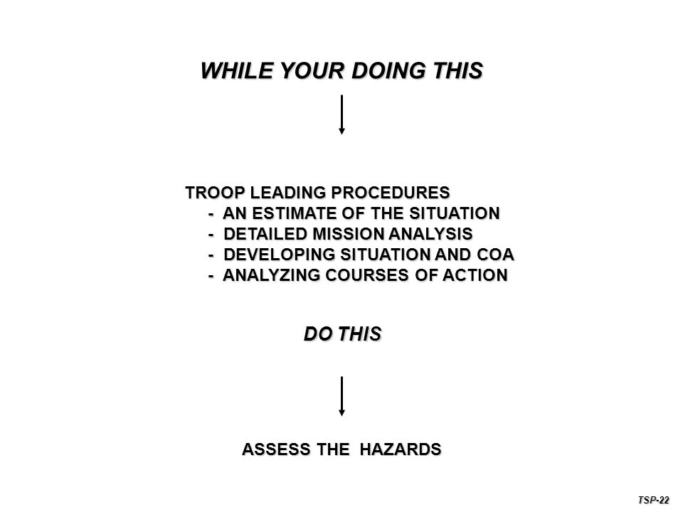 WHILE YOUR DOING THIS DO THIS TROOP LEADING PROCEDURES