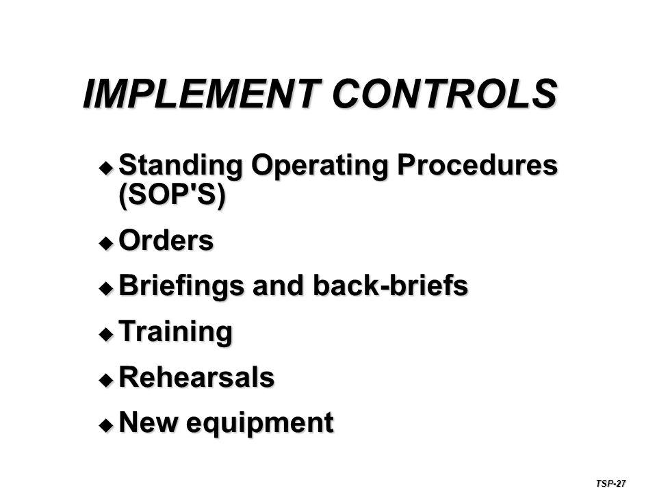 IMPLEMENT CONTROLS Standing Operating Procedures (SOP S) Orders