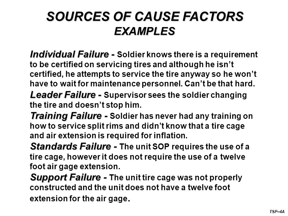SOURCES OF CAUSE FACTORS