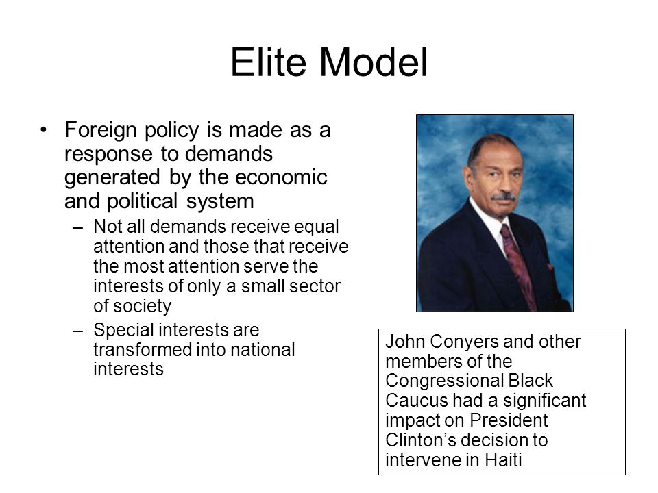 Elite Model Foreign policy is made as a response to demands generated by the economic and political system.
