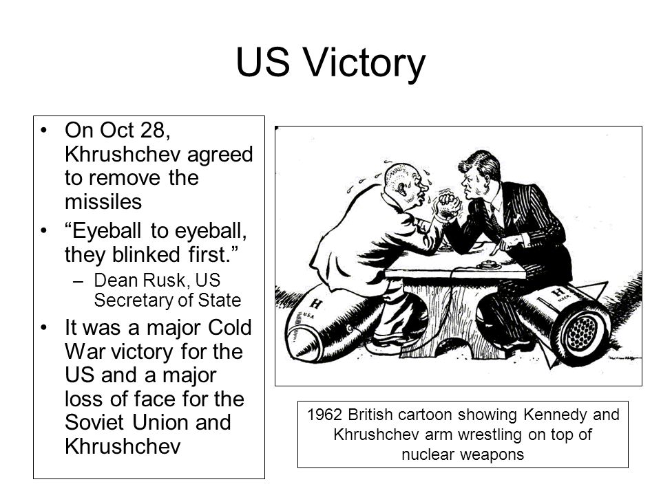 US Victory On Oct 28, Khrushchev agreed to remove the missiles