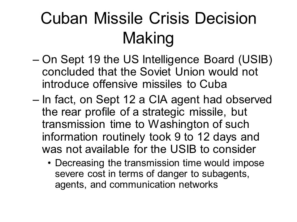 Cuban Missile Crisis Decision Making