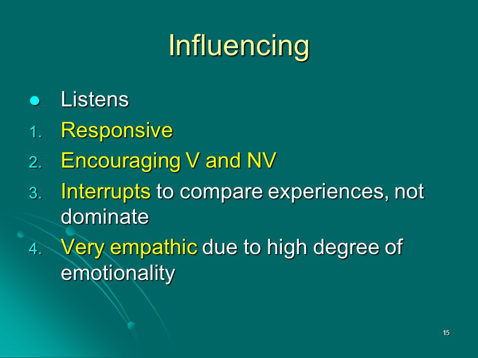 Influencing Listens Responsive Encouraging V and NV