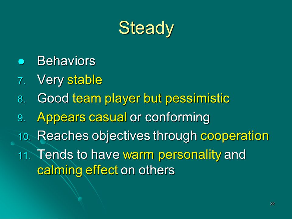 Steady Behaviors Very stable Good team player but pessimistic