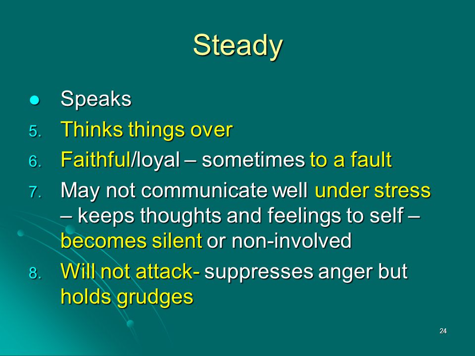 Steady Speaks Thinks things over Faithful/loyal – sometimes to a fault