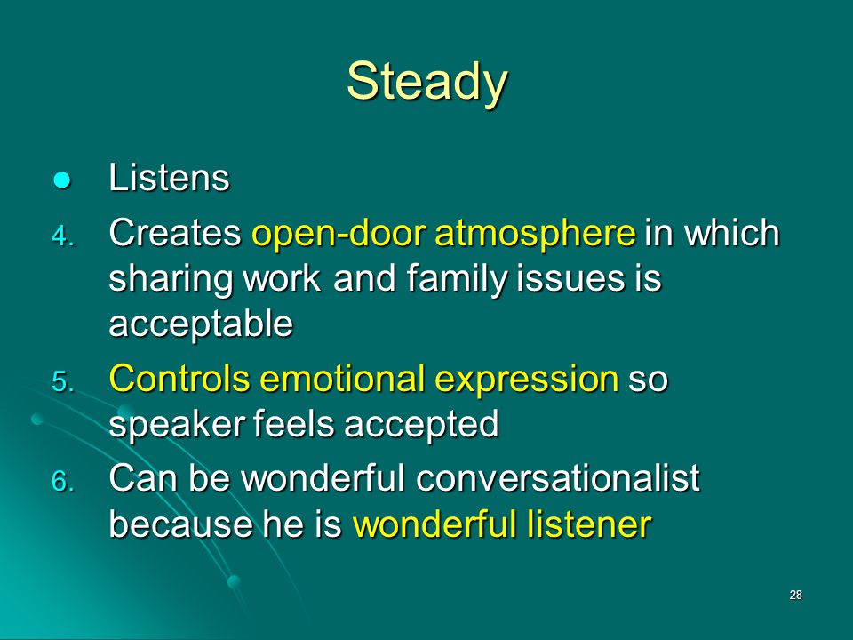 Steady Listens. Creates open-door atmosphere in which sharing work and family issues is acceptable.