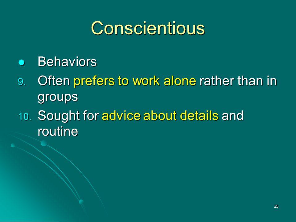 Conscientious Behaviors