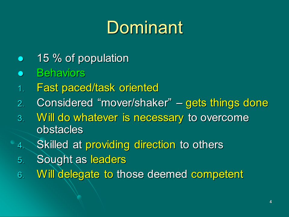 Dominant 15 % of population Behaviors Fast paced/task oriented