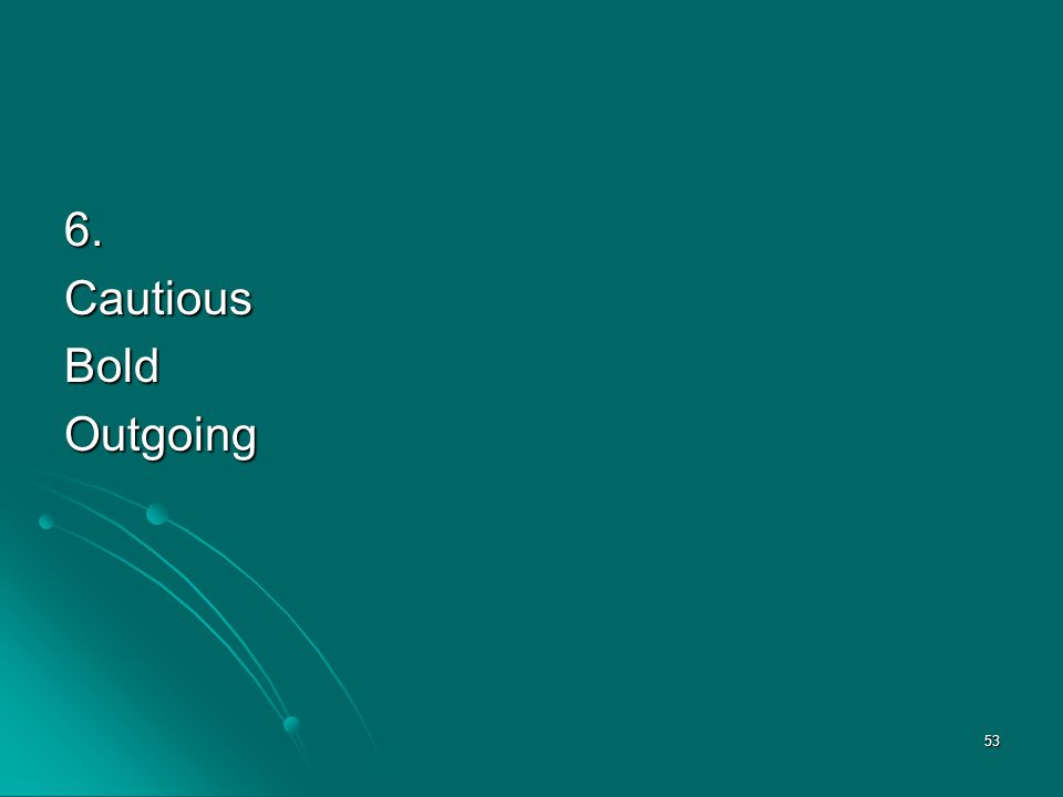 6. Cautious Bold Outgoing