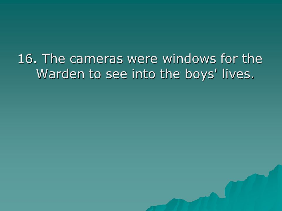 16. The cameras were windows for the Warden to see into the boys lives.