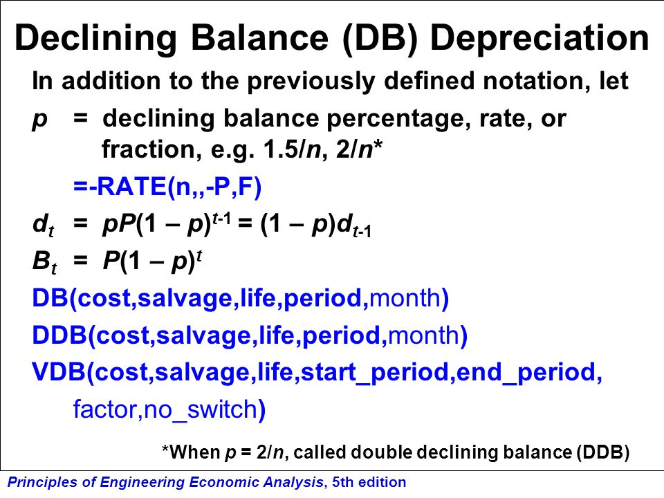 Declining Balance (DB) Depreciation