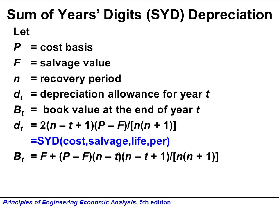 Sum of Years' Digits (SYD) Depreciation