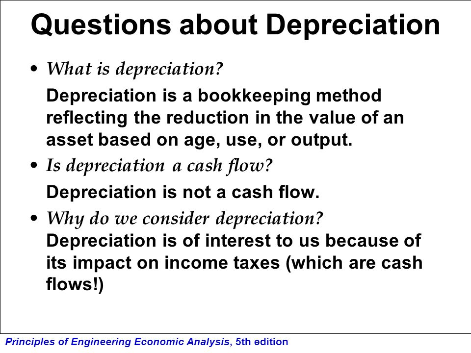 Questions about Depreciation