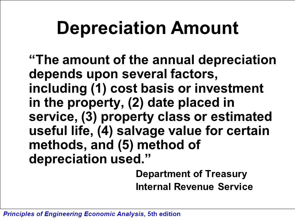 Depreciation Amount Internal Revenue Service