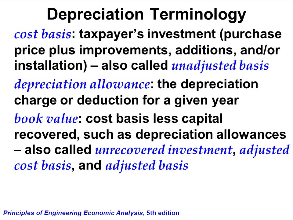 Depreciation Terminology