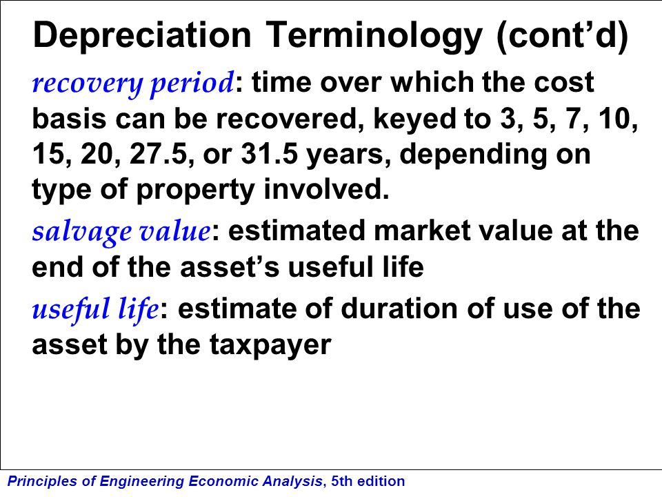 Depreciation Terminology (cont'd)