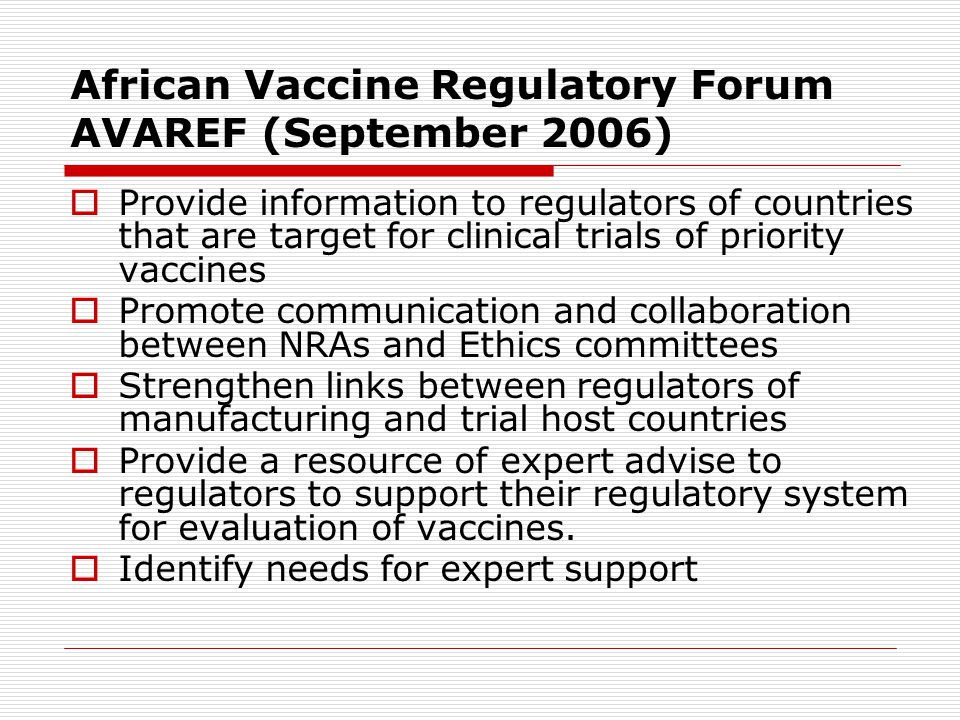 African Vaccine Regulatory Forum AVAREF (September 2006)