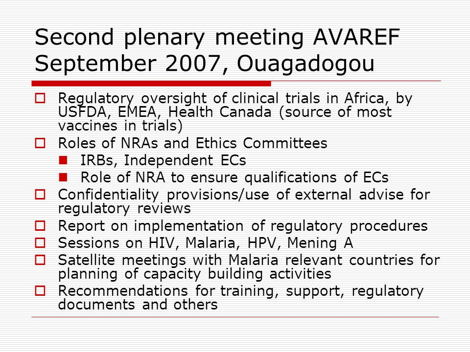 Second plenary meeting AVAREF September 2007, Ouagadogou