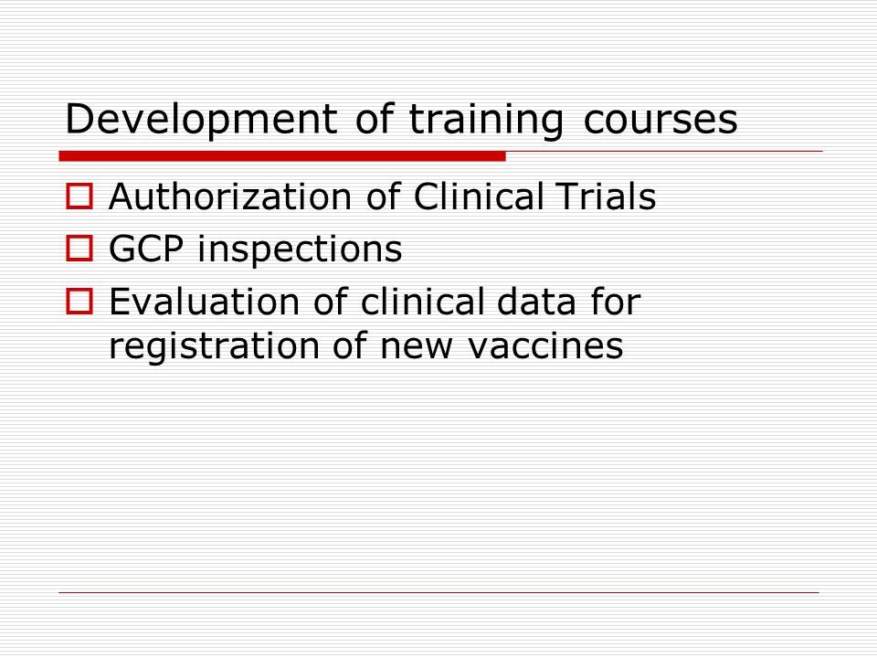 Development of training courses