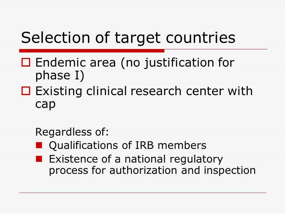 Selection of target countries