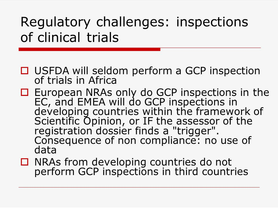 Regulatory challenges: inspections of clinical trials