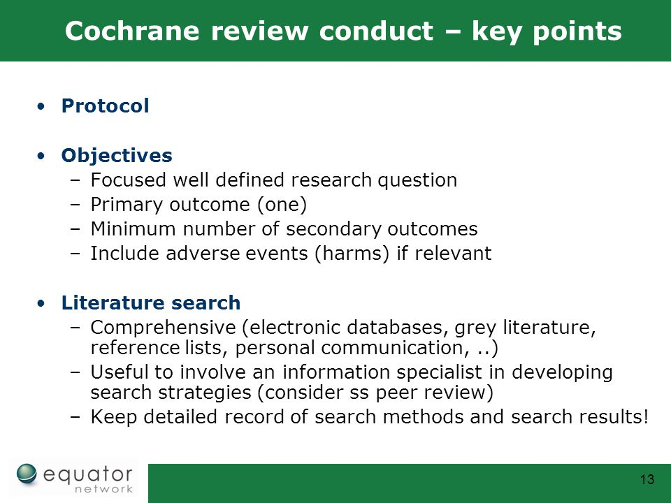 Cochrane review conduct – key points