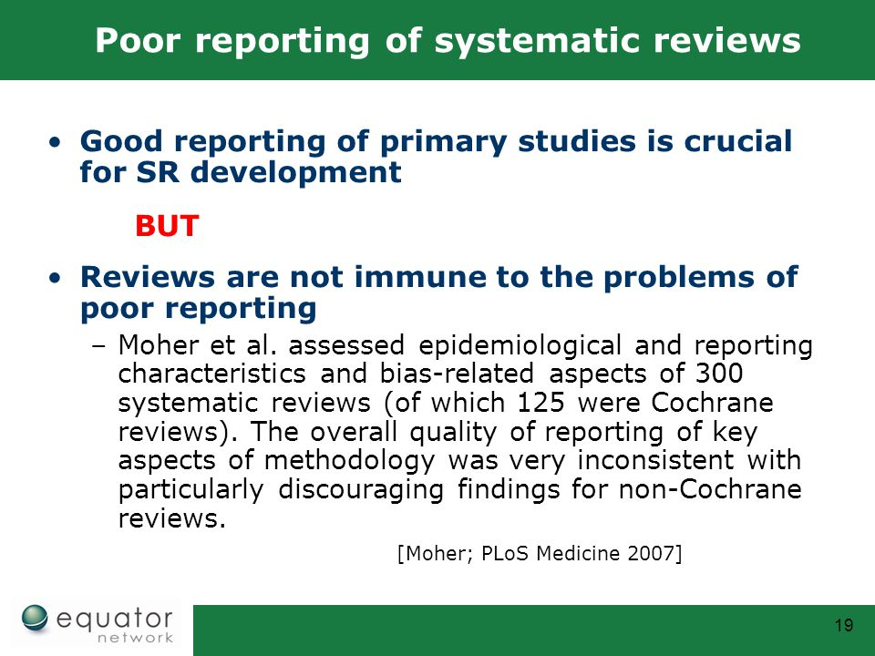 Poor reporting of systematic reviews
