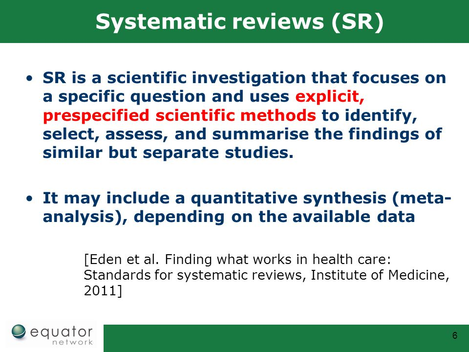 Systematic reviews (SR)