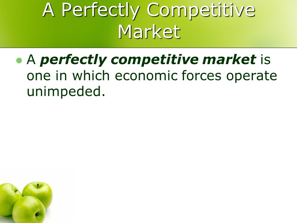 A Perfectly Competitive Market