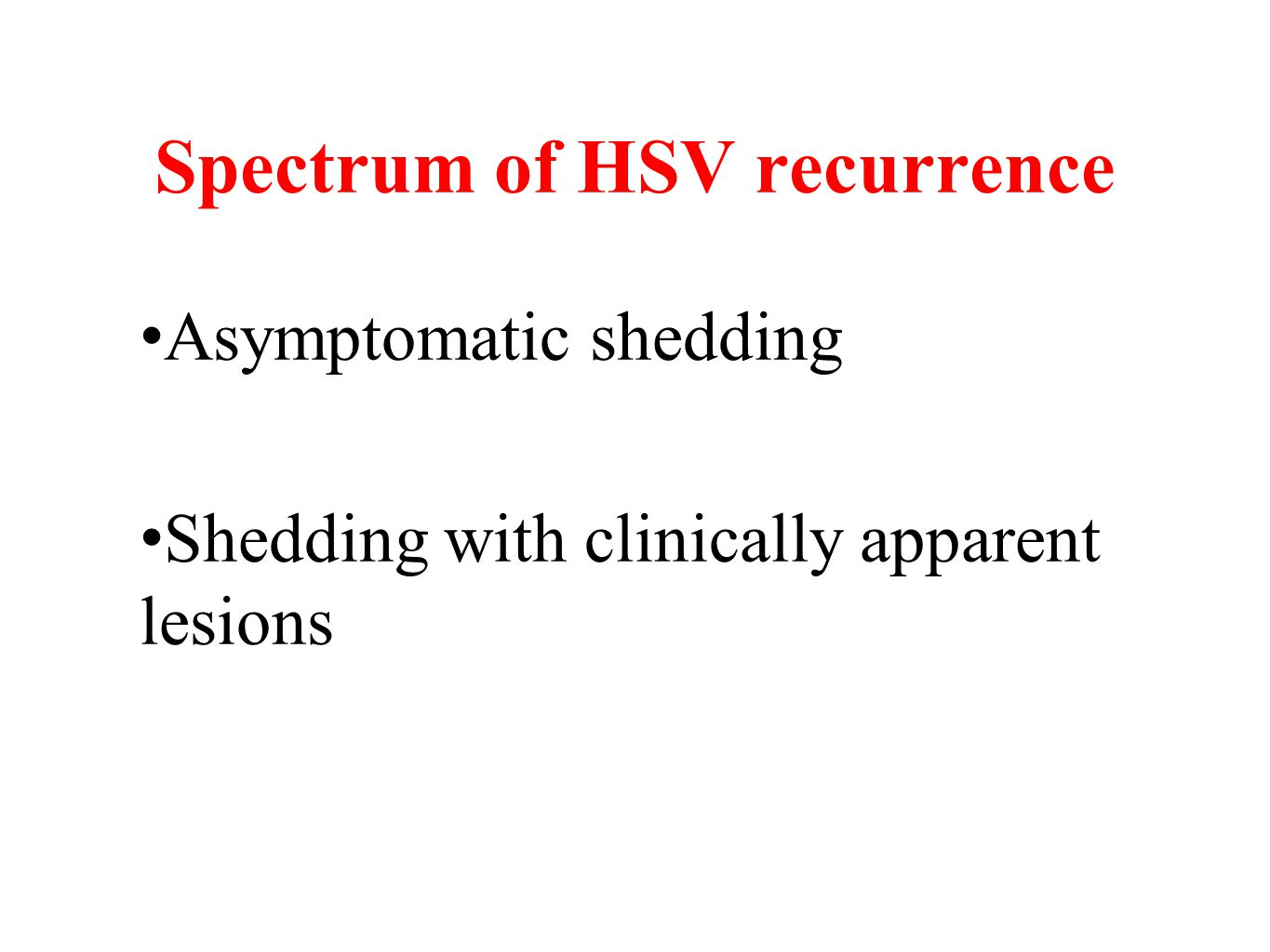 Spectrum of HSV recurrence