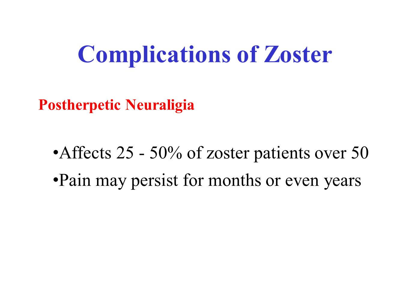 Complications of Zoster