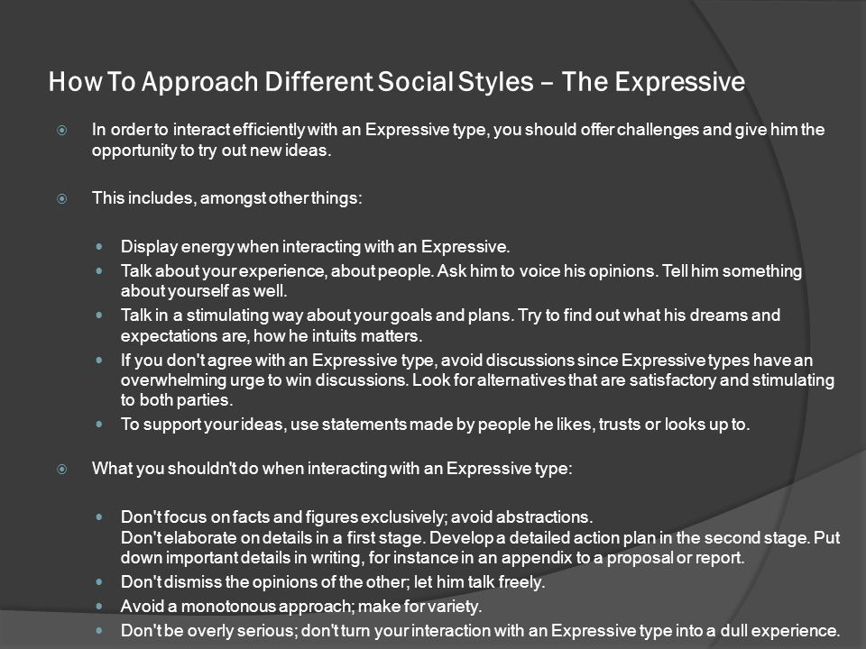 How To Approach Different Social Styles – The Expressive