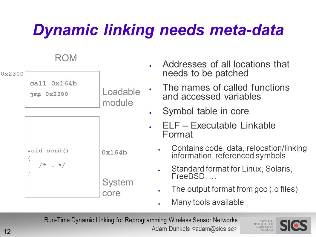 Dynamic linking needs meta-data