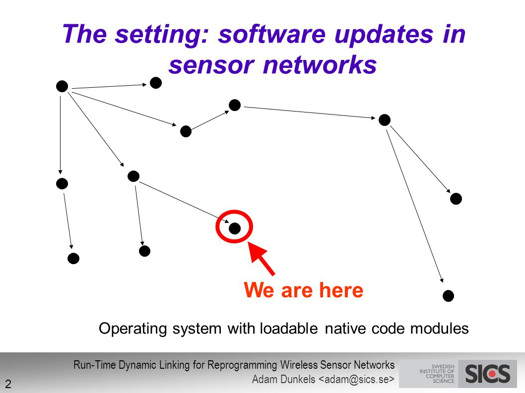The setting: software updates in sensor networks