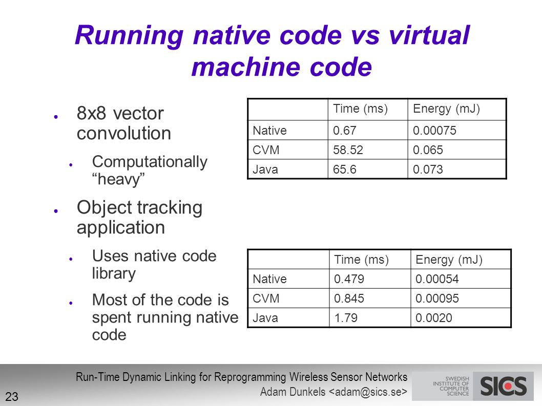Running native code vs virtual machine code
