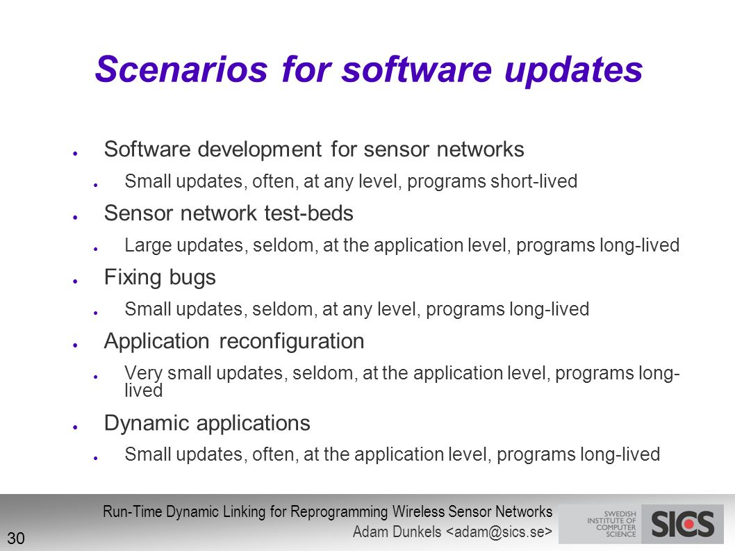 Scenarios for software updates