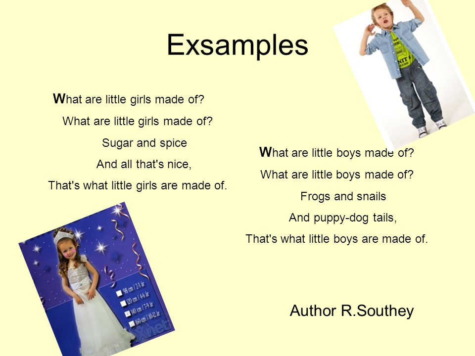 Exsamples Author R.Southey