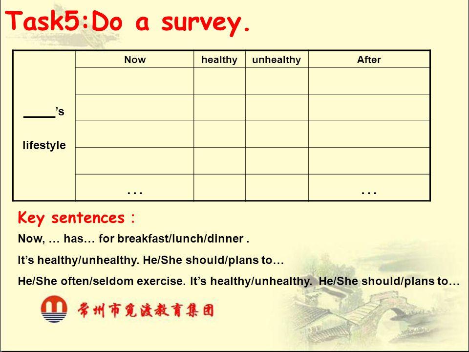 Task5:Do a survey. … Key sentences: _____'s lifestyle