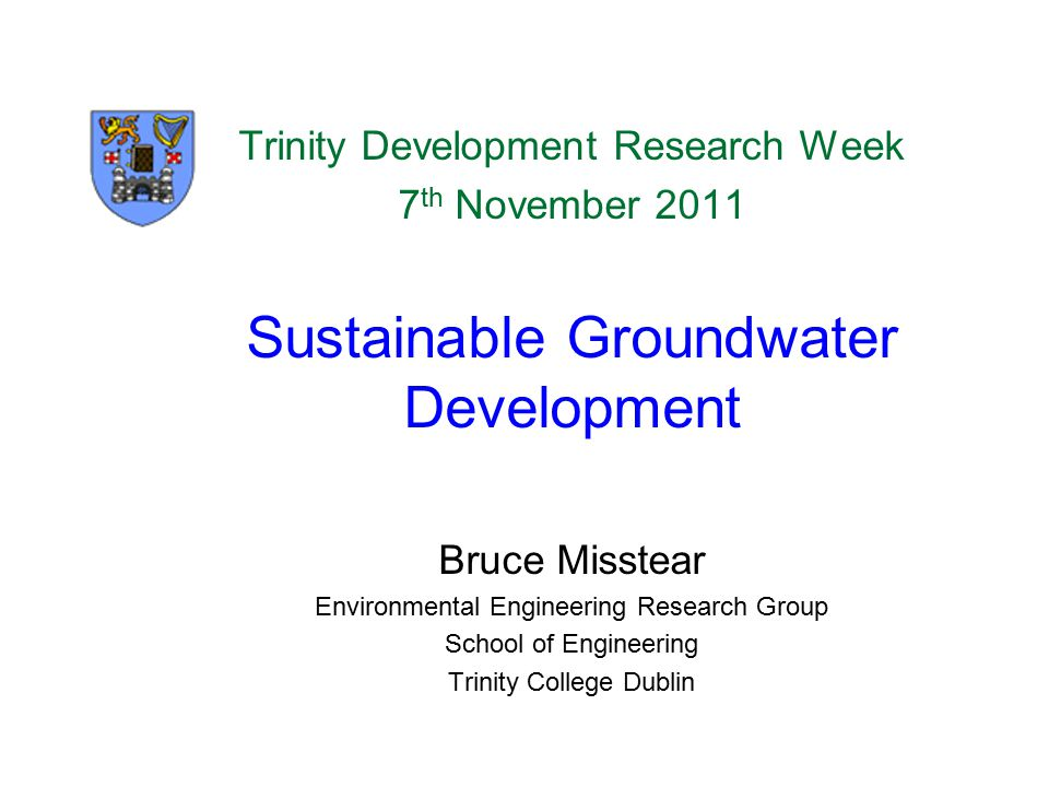 Sustainable Groundwater Development