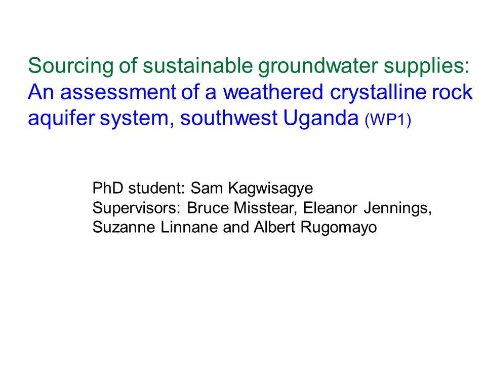Sourcing of sustainable groundwater supplies:
