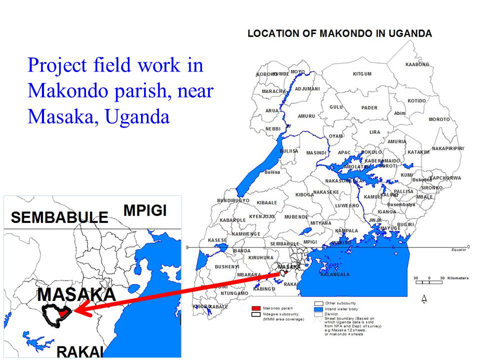 Project field work in Makondo parish, near Masaka, Uganda