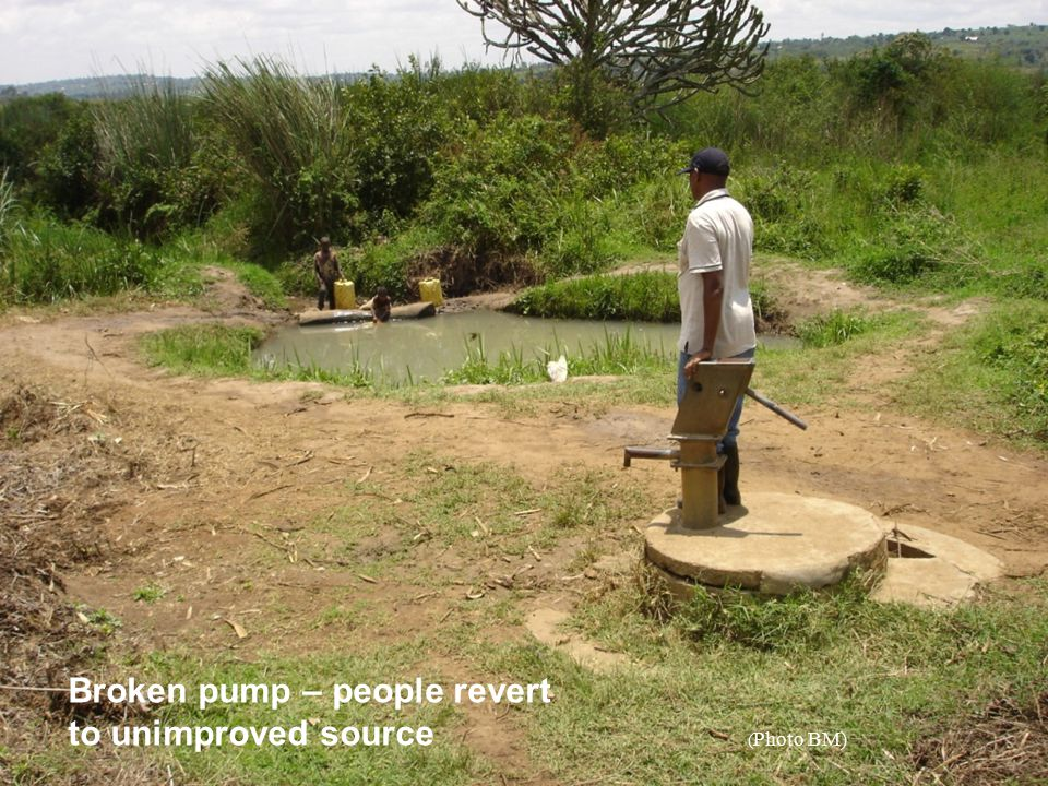 Broken pump – people revert to unimproved source