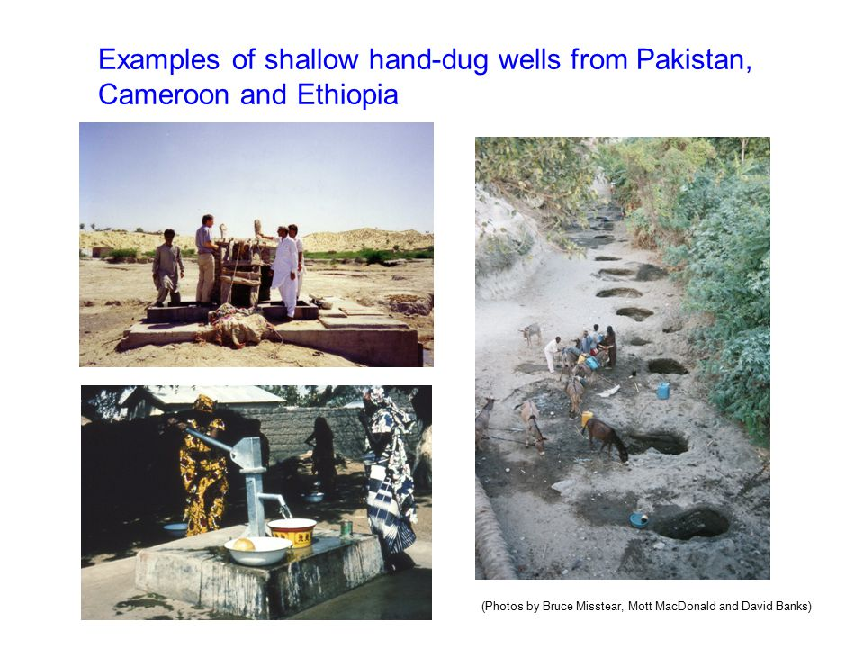 Examples of shallow hand-dug wells from Pakistan, Cameroon and Ethiopia