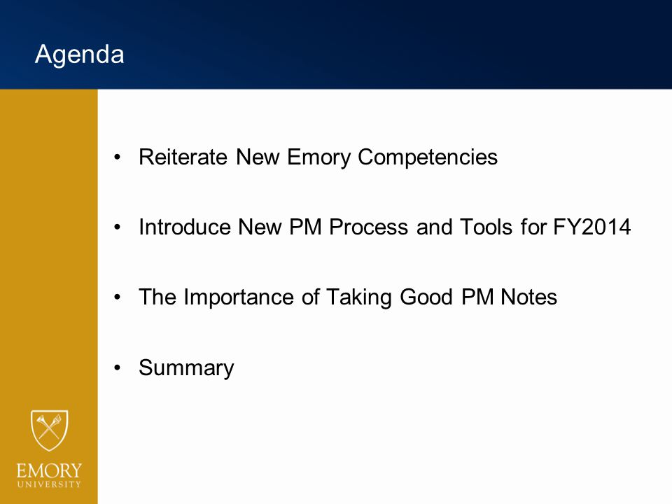 Agenda Reiterate New Emory Competencies