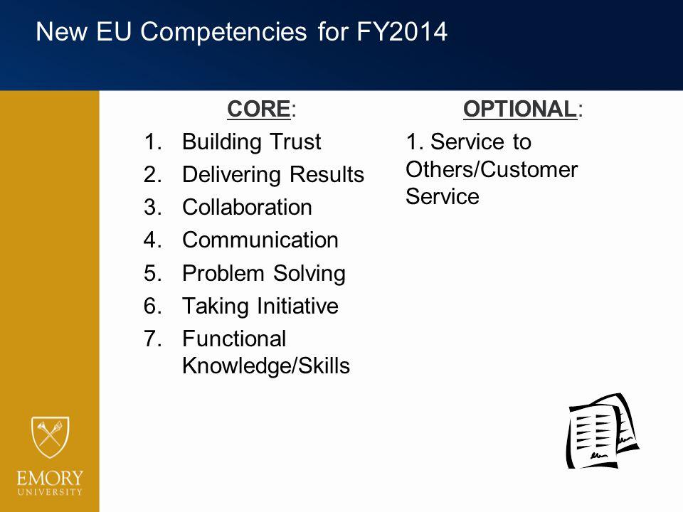 New EU Competencies for FY2014